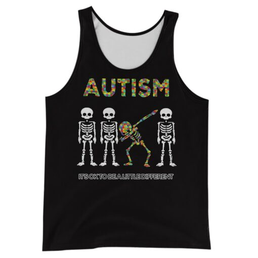 Skull it's ok to be a little different autism awareness full over print tank top