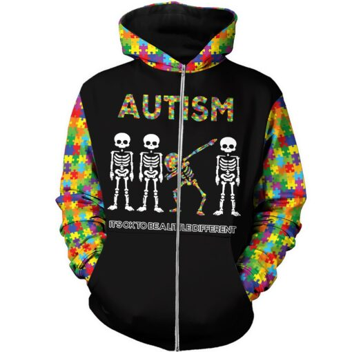 Skull it's ok to be a little different autism awareness full over print zip hoodie