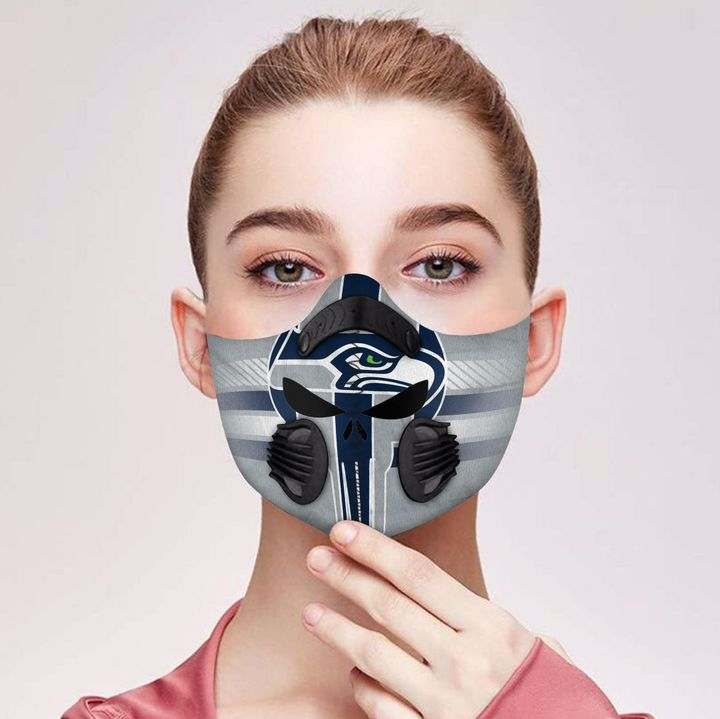 Skull seattle seahawks team filter activated carbon face mask 2