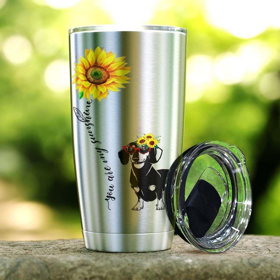 Sunflower you are my sunshine dachshund steel tumbler 1