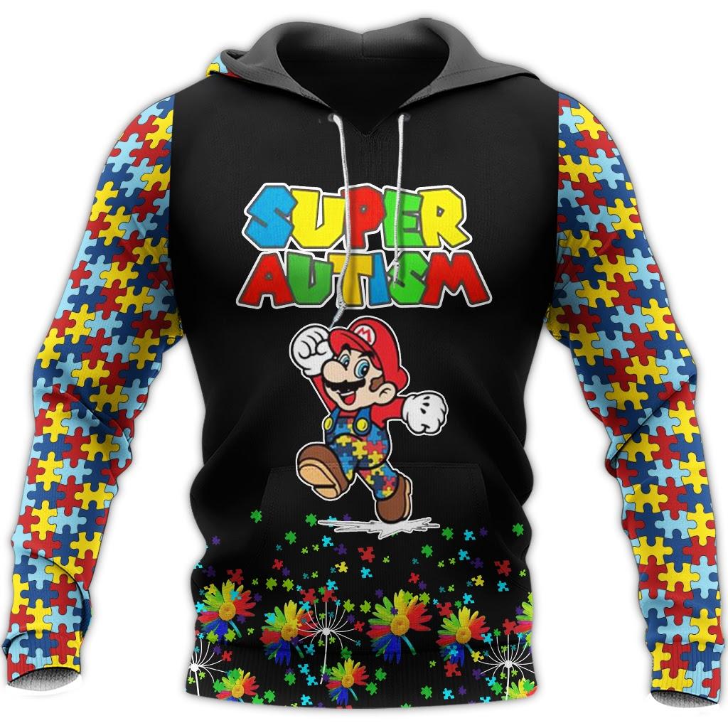Super mario super autism awareness full over printed hoodie