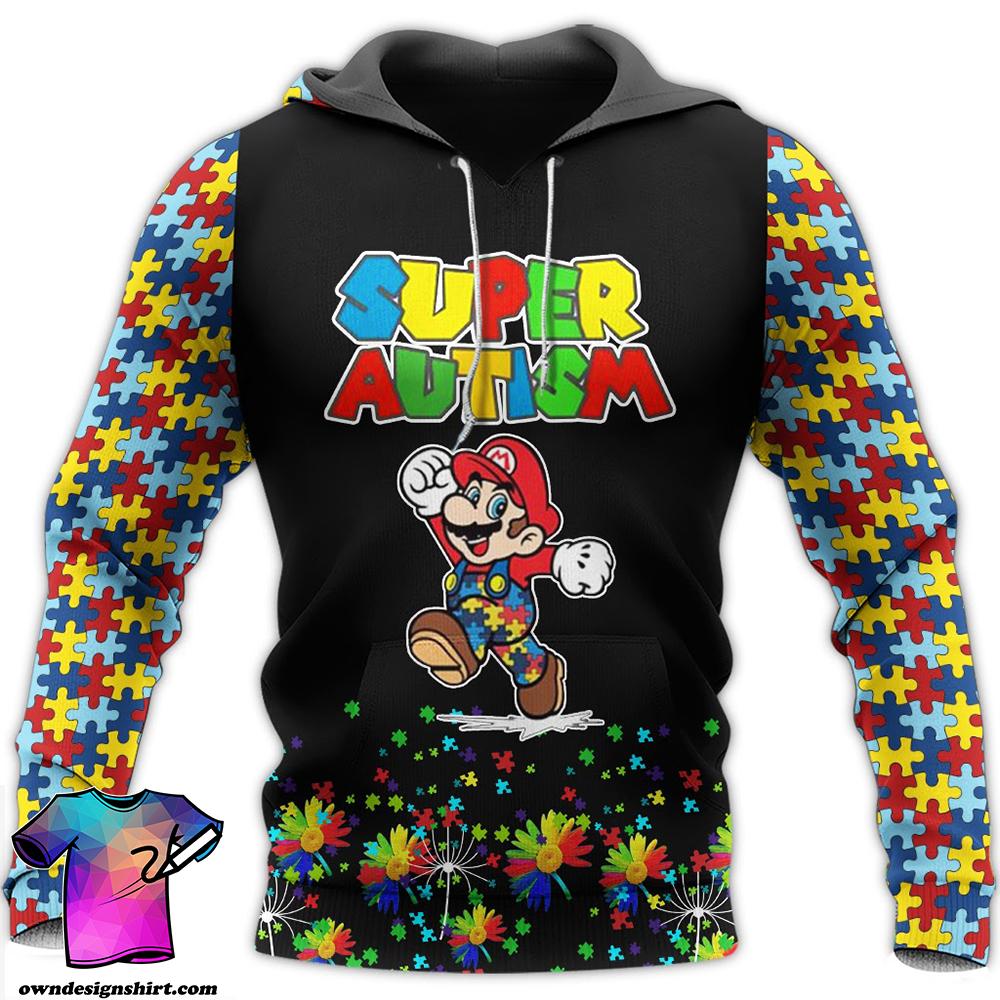Super mario super autism awareness full over printed shirt