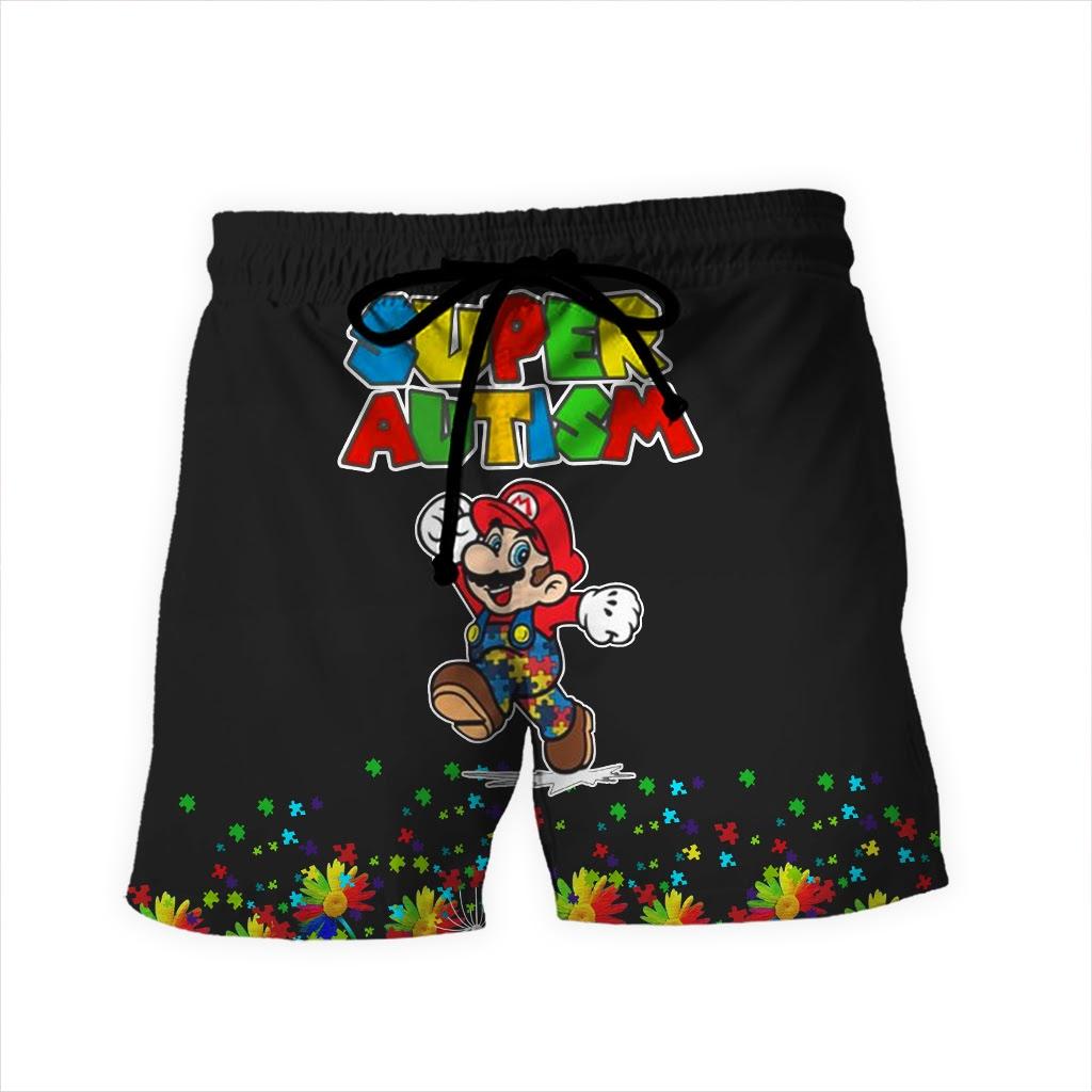 Super mario super autism awareness full over printed shorts