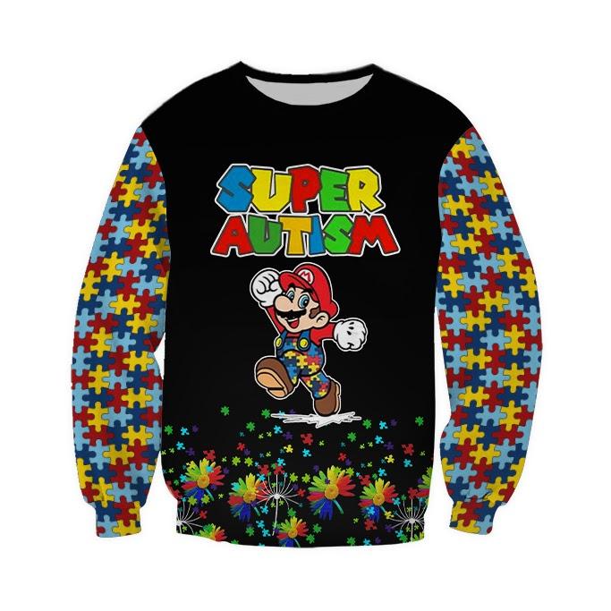 Super mario super autism awareness full over printed sweatshirt