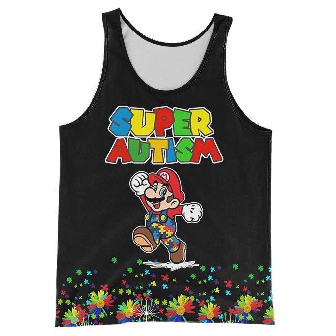 Super mario super autism awareness full over printed tank top
