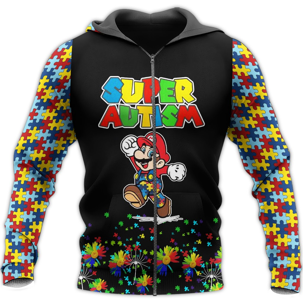 Super mario super autism awareness full over printed zip hoodie