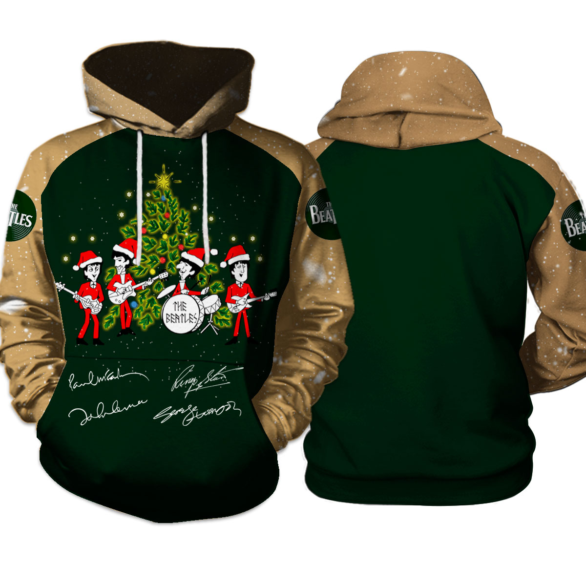 The beatles christmas tree all over print hoodie