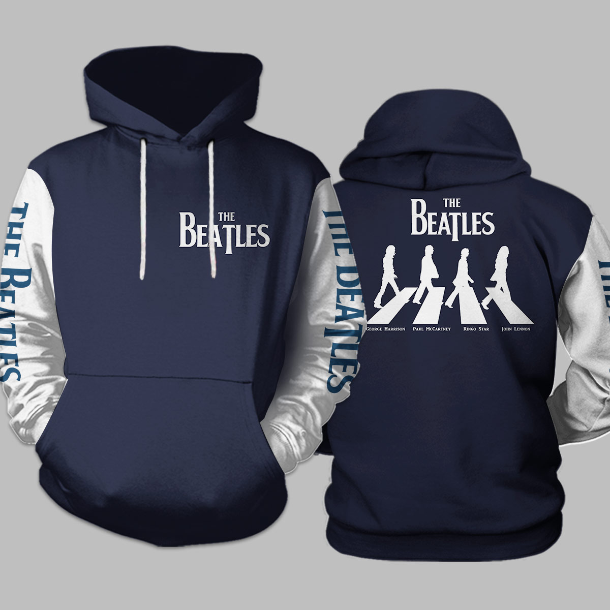 The beatles walking across abbey road all over print hoodie