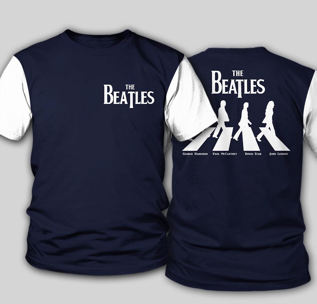 The beatles walking across abbey road all over print tshirt