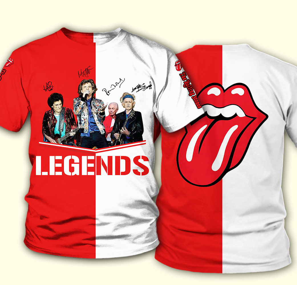 The rolling stones legends signatures full over print tshirt