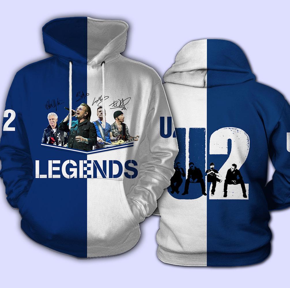 U2 legends signatures full over print hoodie