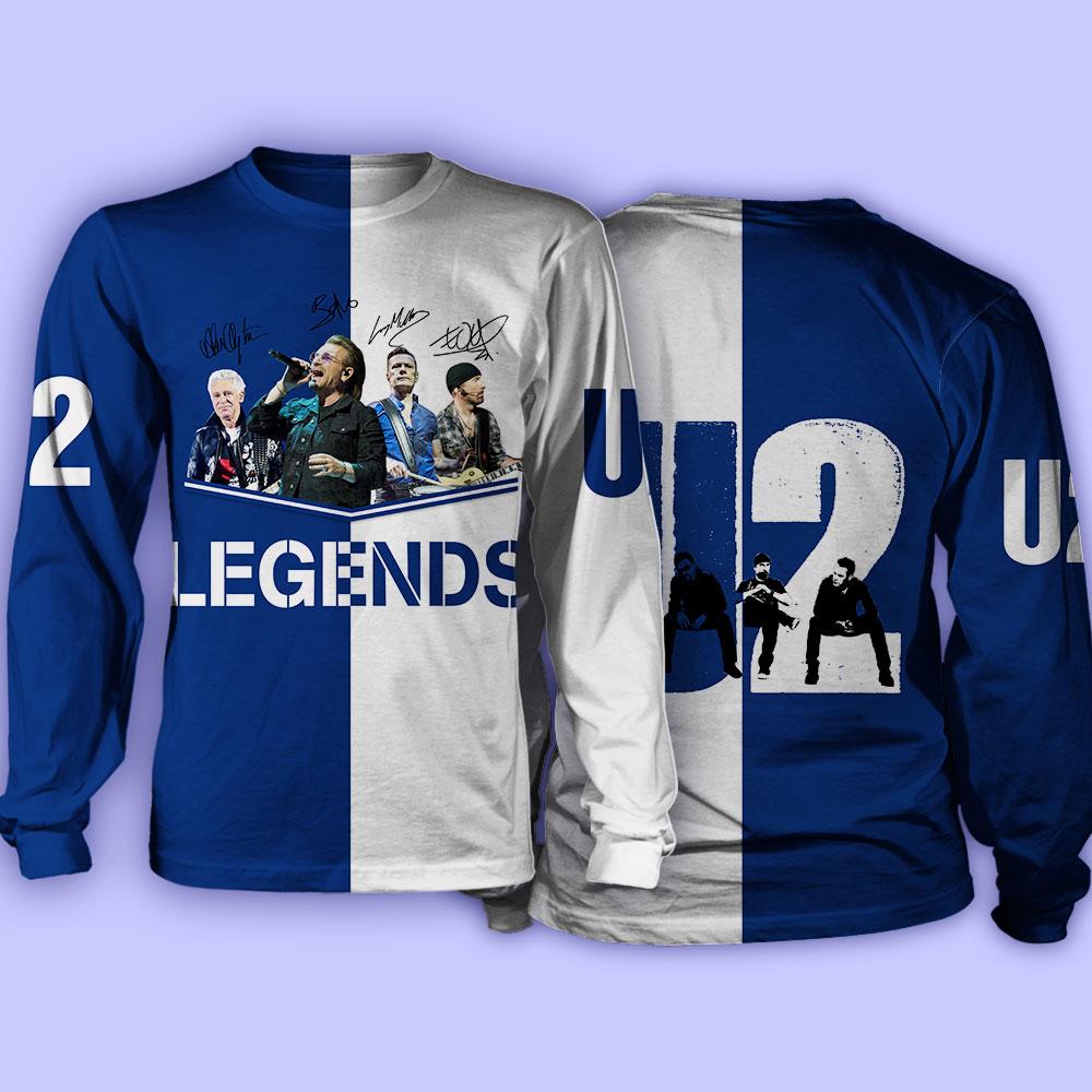 U2 legends signatures full over print sweatshirt