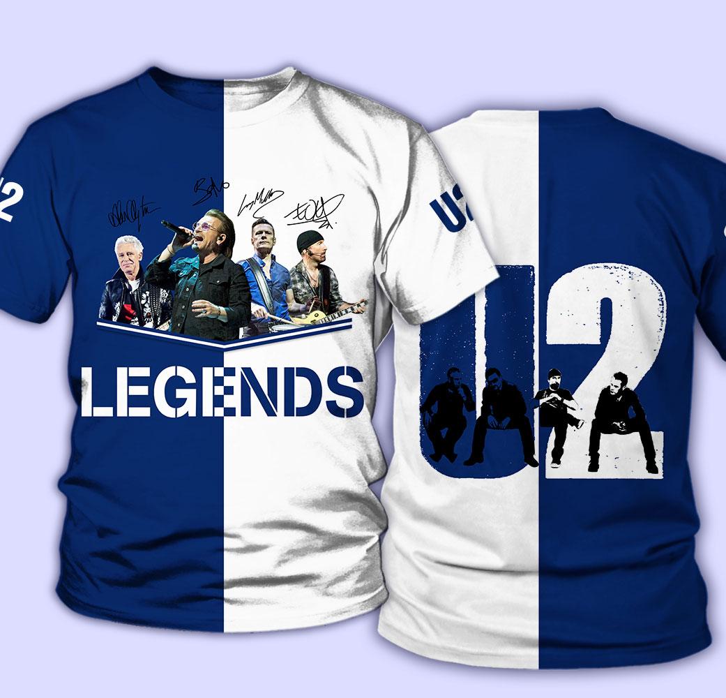 U2 legends signatures full over print tshirt