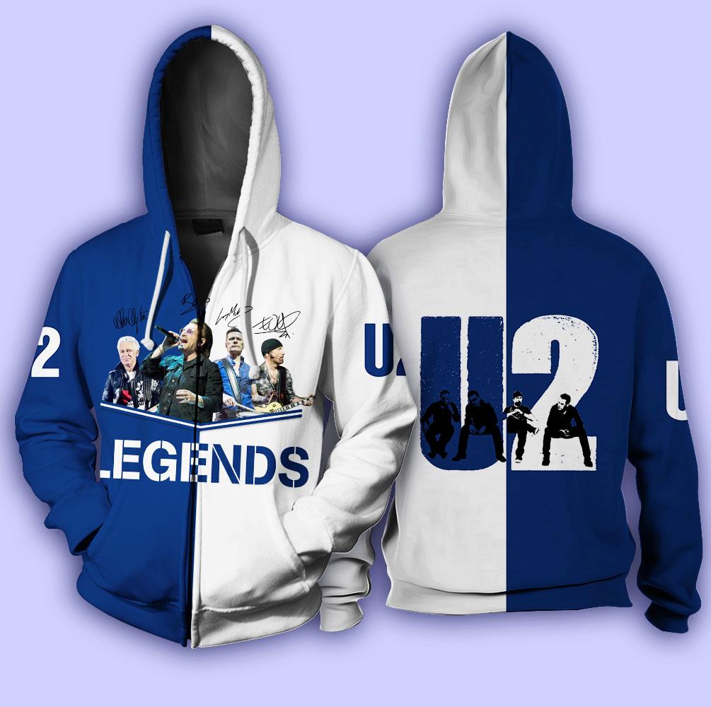 U2 legends signatures full over print zip hoodie
