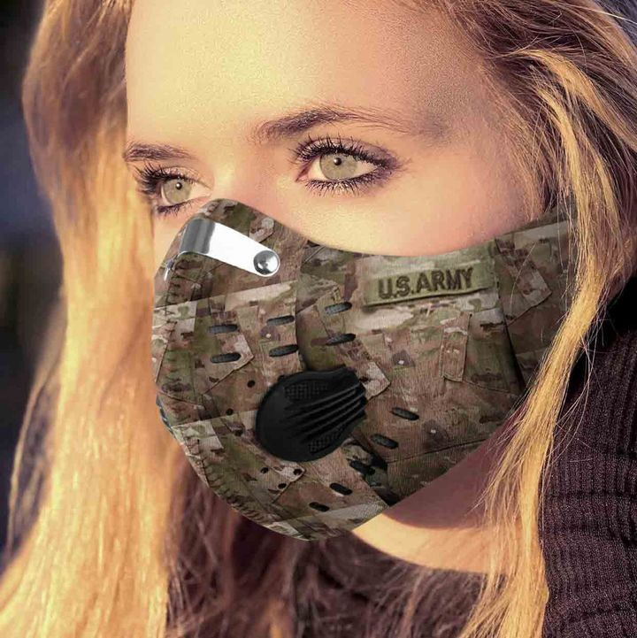US army camo filter activated carbon face mask 2