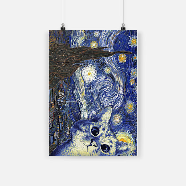 Vincent van gogh starry night cat poster 2