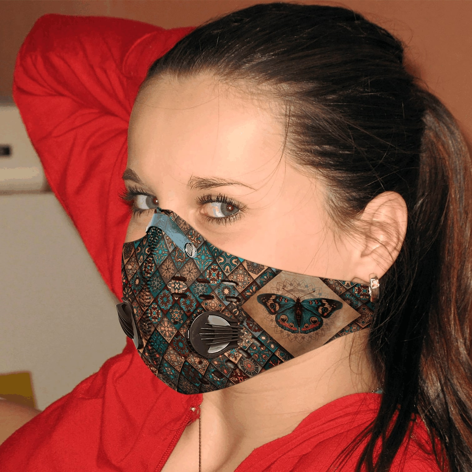 Vintage butterfly carbon pm 2,5 face mask 2
