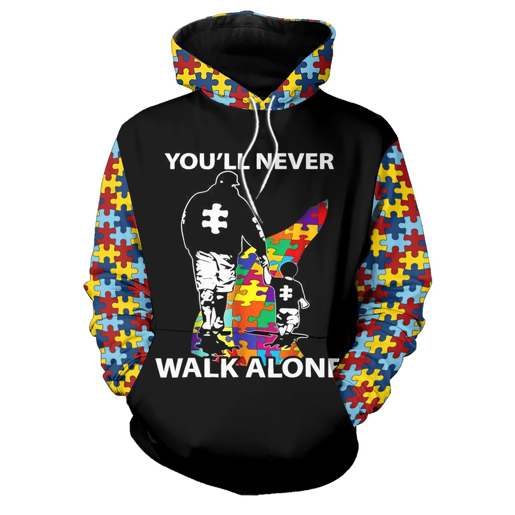 You'll never walk alone autism awareness full over printed hoodie