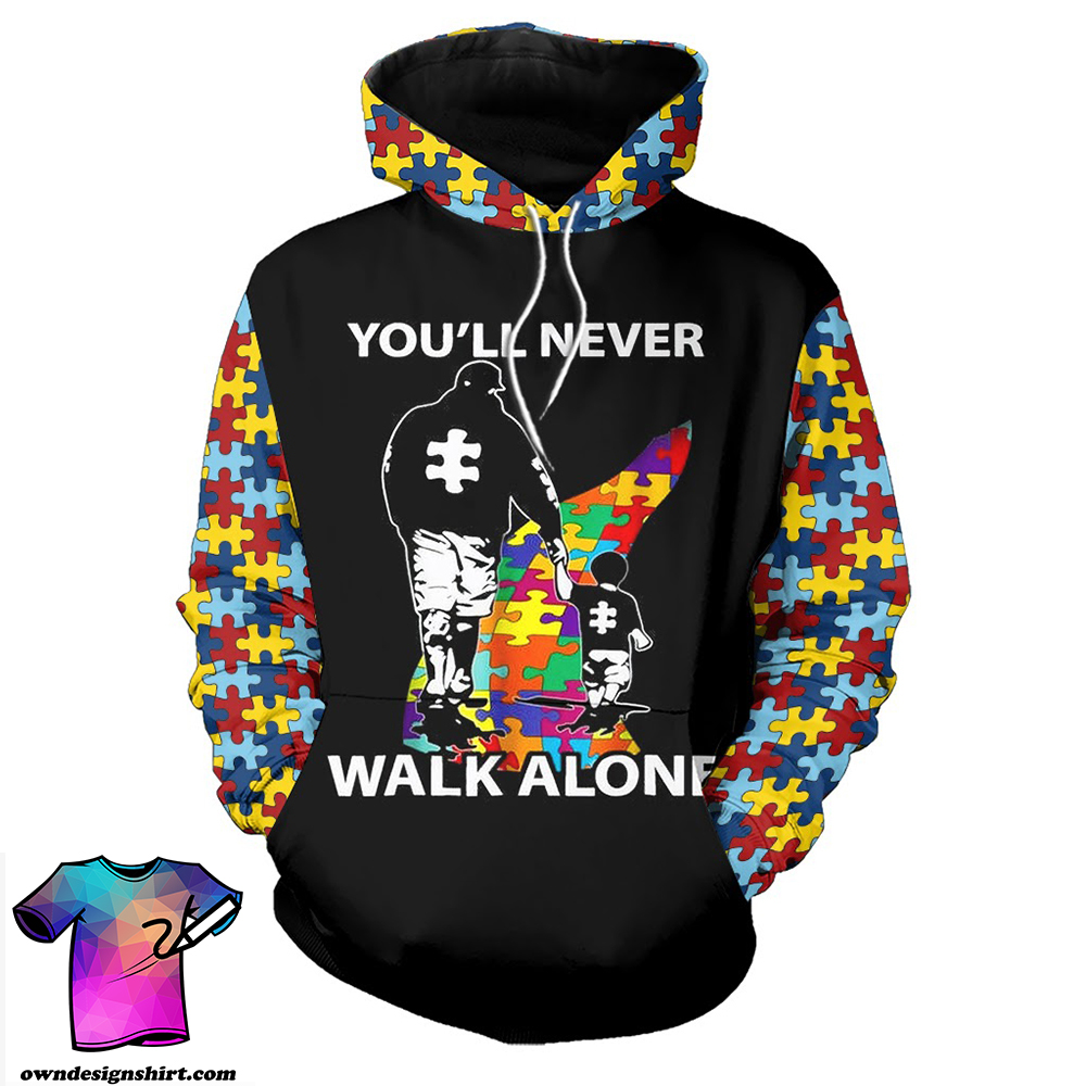 You'll never walk alone autism awareness full over printed shirt