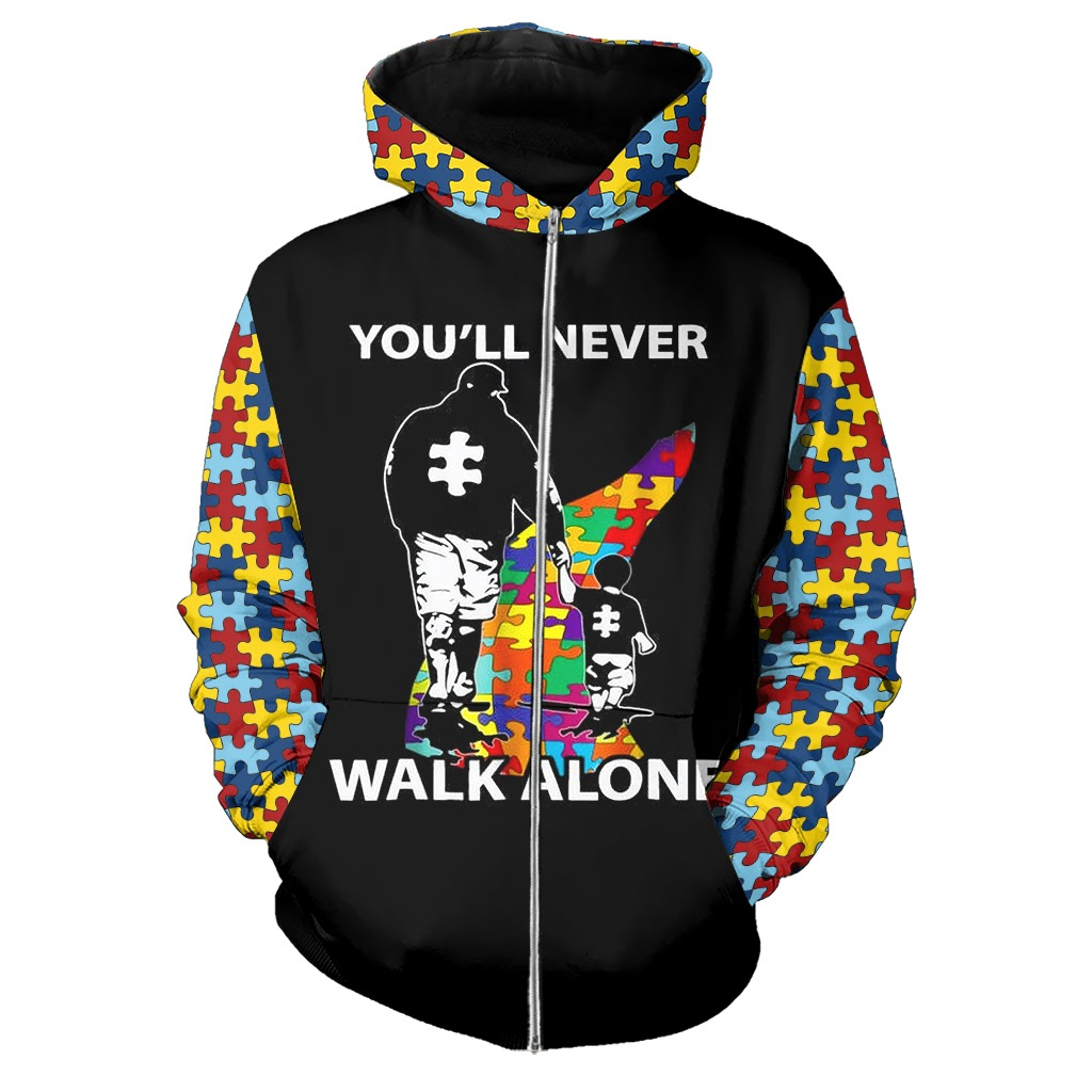 You'll never walk alone autism awareness full over printed zip hoodie