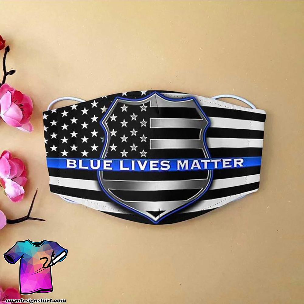 American flag blue lives matter anti-dust cotton face mask