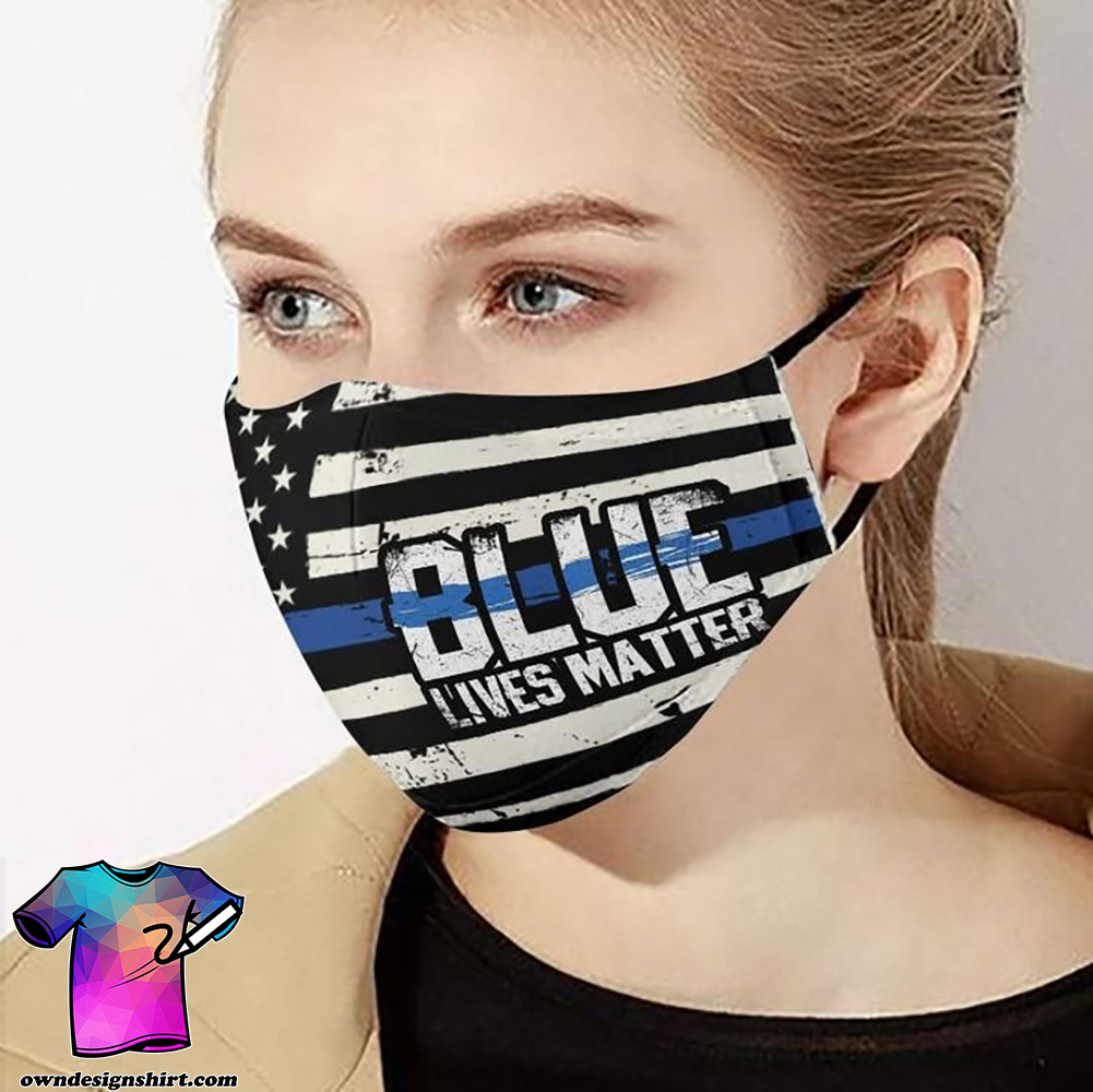 American flag blue lives matter police officer anti-dust face mask