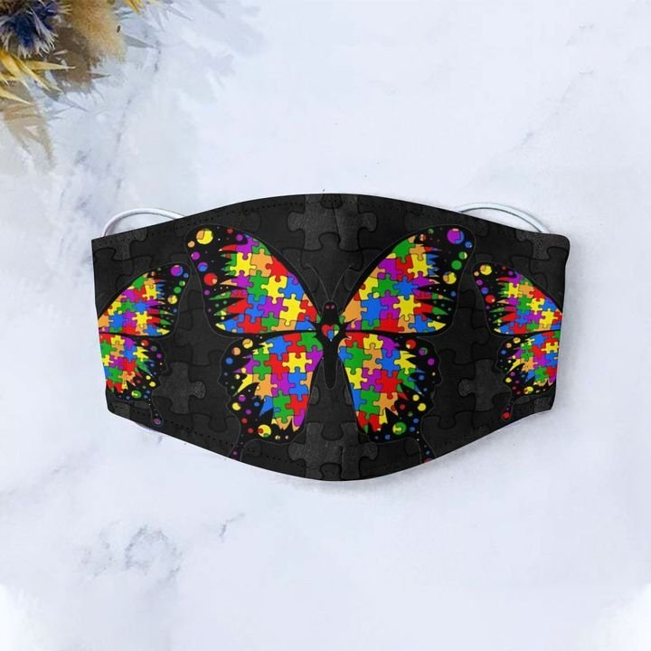Autism awareness puzzle pieces butterfly anti-dust face mask 2