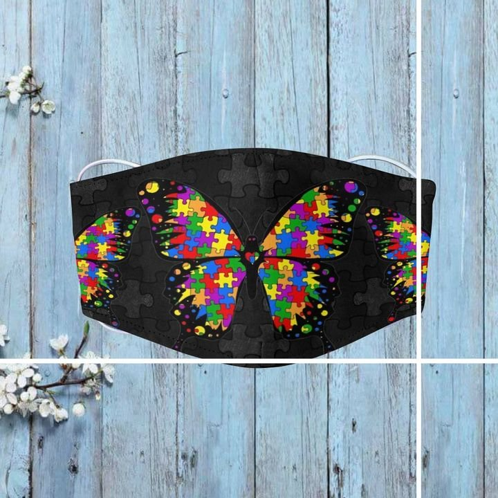 Autism awareness puzzle pieces butterfly anti-dust face mask 3