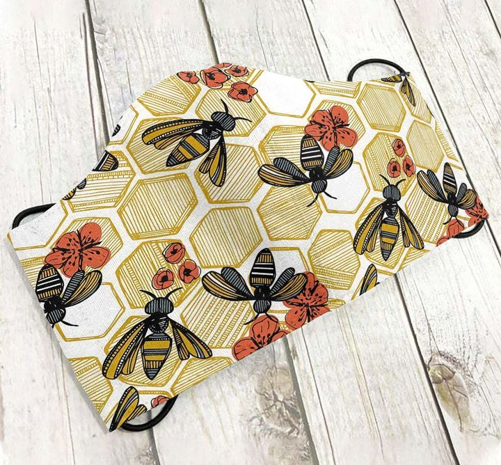 Bee and flower anti-dust cotton face mask 1