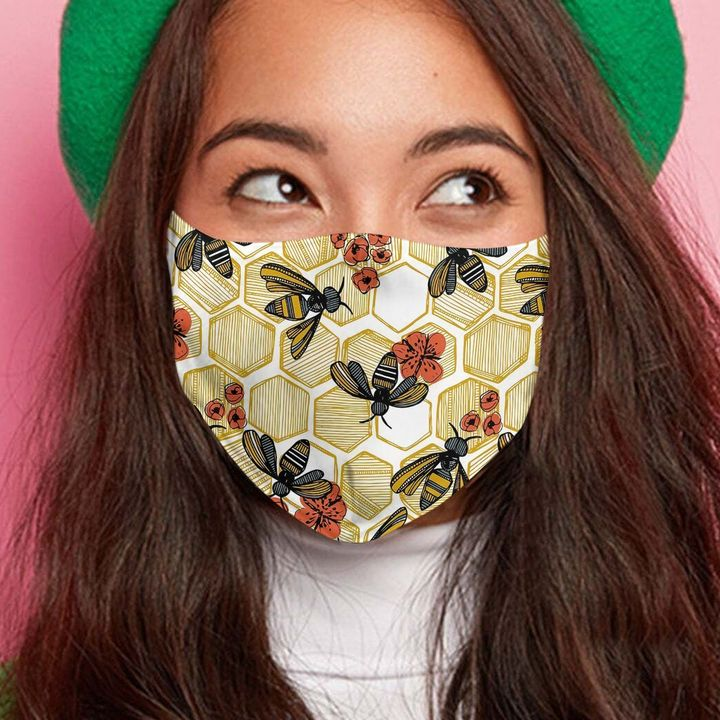 Bee and flower anti-dust cotton face mask 4