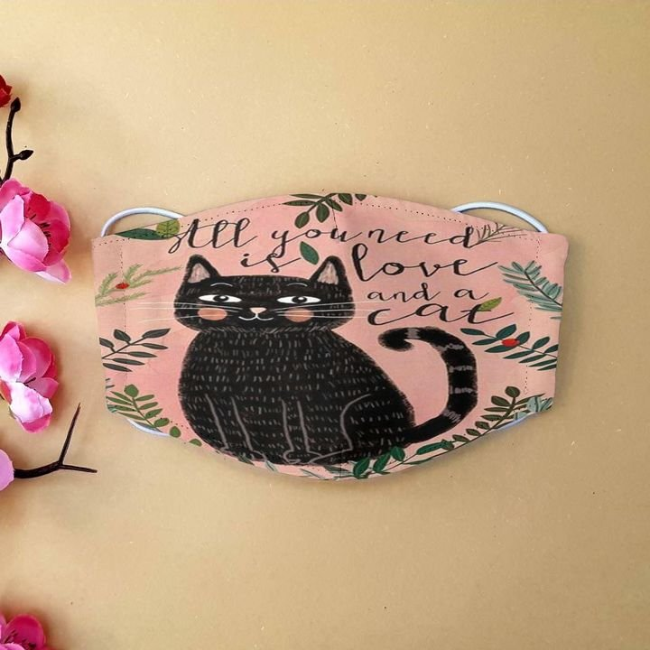Black cat all you need is love and a cat anti-dust face mask 1