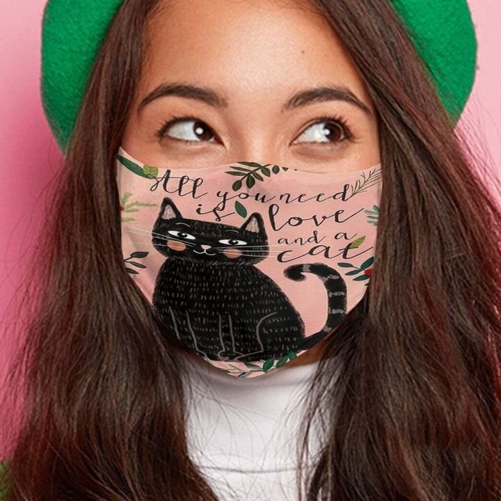 Black cat all you need is love and a cat anti-dust face mask 2