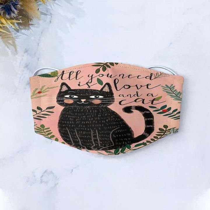 Black cat all you need is love and a cat anti-dust face mask 4