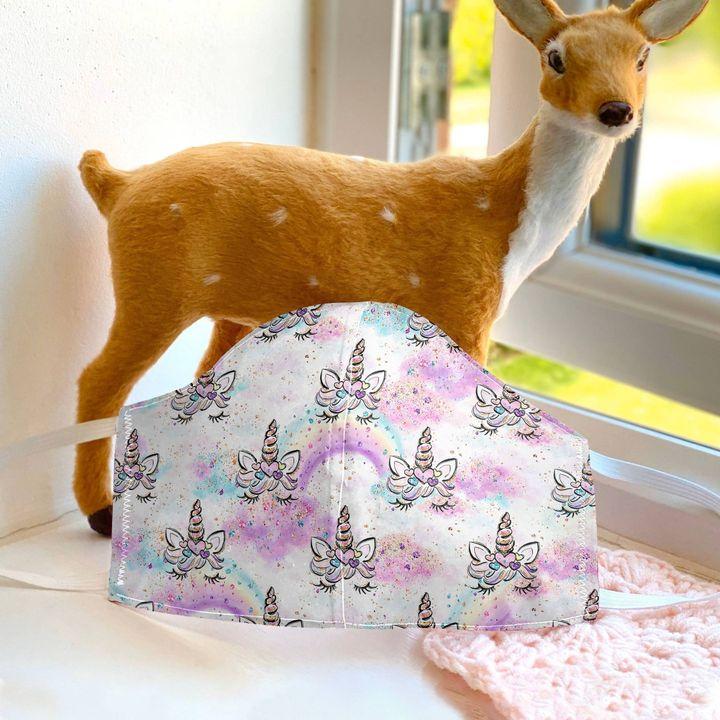 Bling unicorn kid anti-dust cotton face mask 1