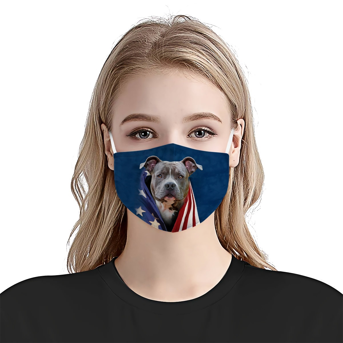 Blue noise pit bull terrier in american flag cotton face mask 2