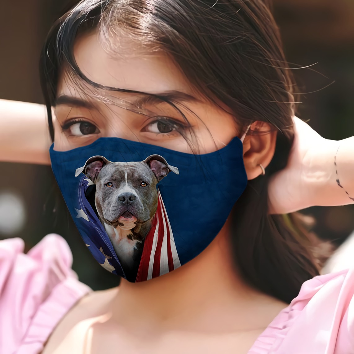 Blue noise pit bull terrier in american flag cotton face mask 3