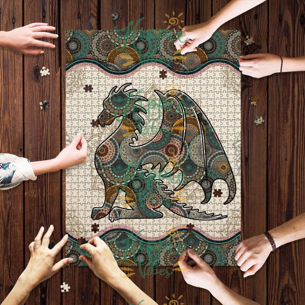 Bookworm dragon mandala jigsaw puzzle 1