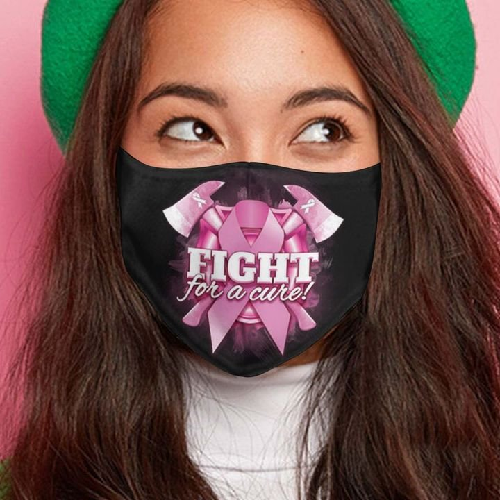 Breast cancer awareness ribbon fight for a cure face mask 2