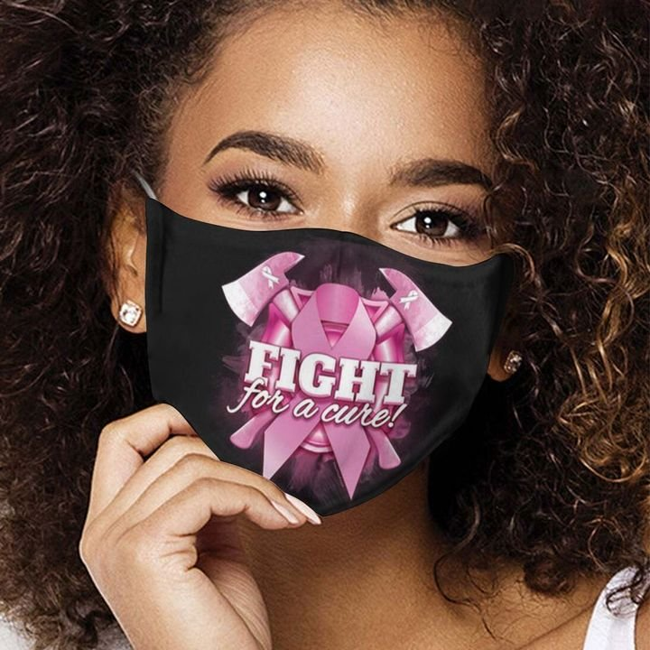 Breast cancer awareness ribbon fight for a cure face mask 4
