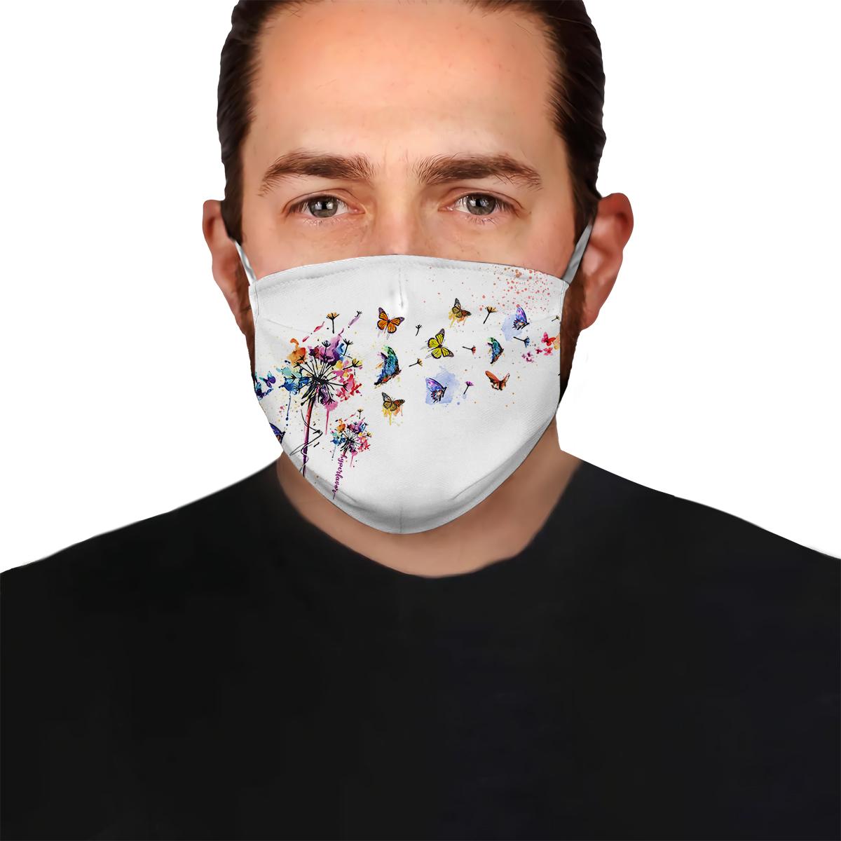 Butterfly dandelion watercolor anti-dust cotton face mask 1