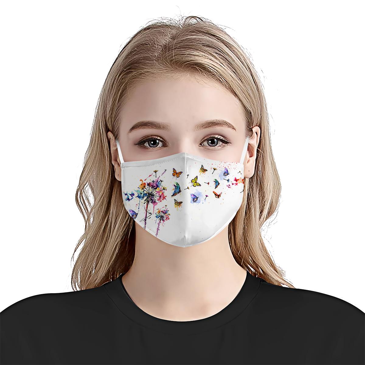 Butterfly dandelion watercolor anti-dust cotton face mask 4
