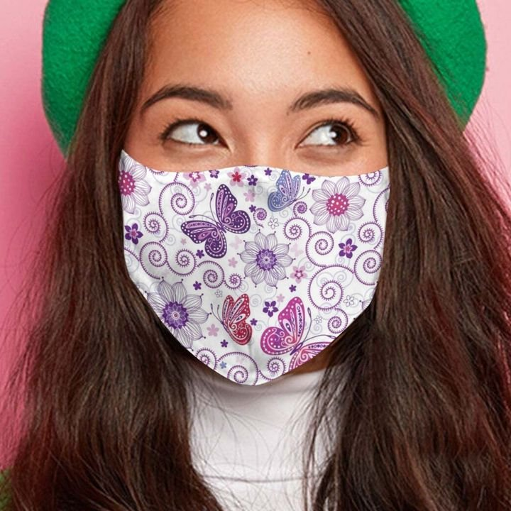 Butterfly flower spring anti-dust cotton face mask 4
