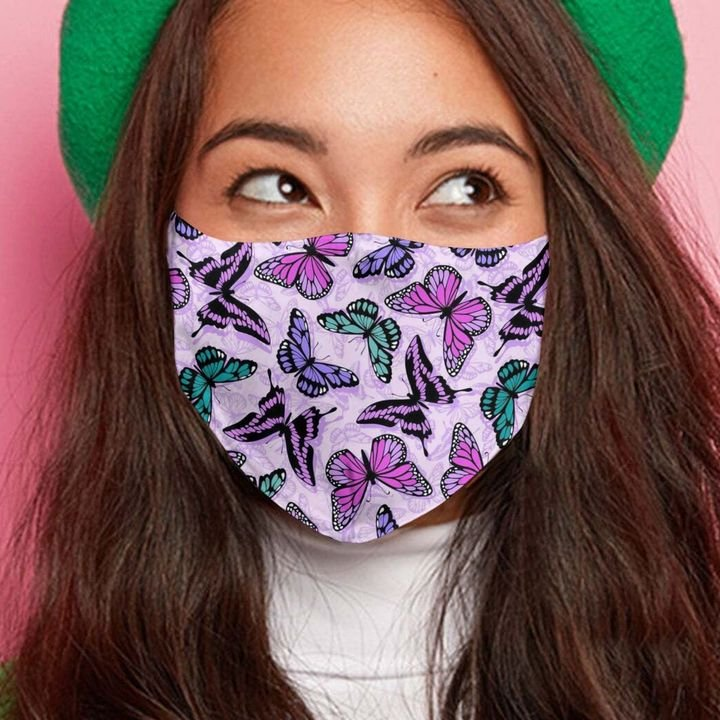 Butterfly purple anti-dust cotton face mask 2