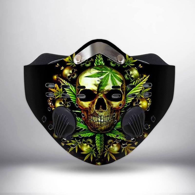 Cannabis leaf and skull filter activated carbon face mask 2
