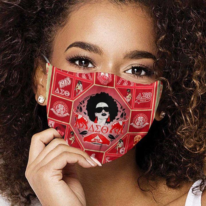 Delta sigma theta sorority incorporated anti-dust cotton face mask 4