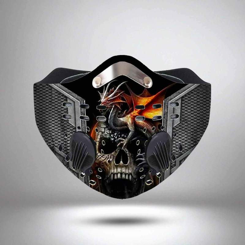 Dragon and skull filter activated carbon face mask 3