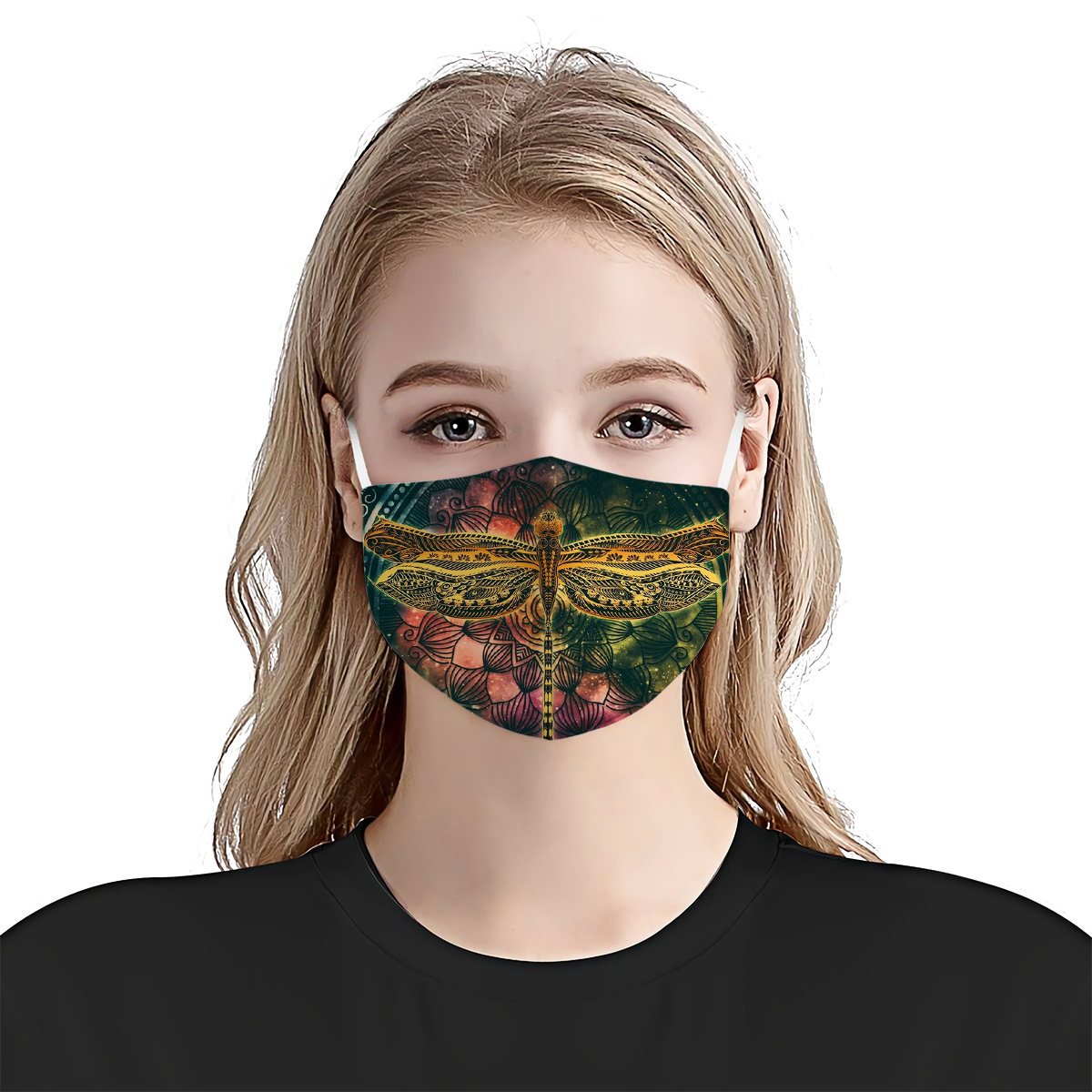 Dragonfly colorful vintage anti-dust cotton face mask 2