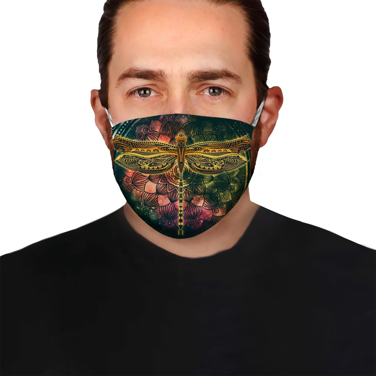Dragonfly colorful vintage anti-dust cotton face mask 4