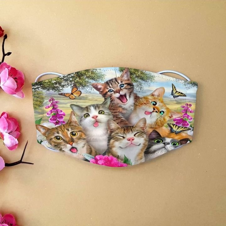 Floral cat and butterfly anti-dust cotton face mask 2