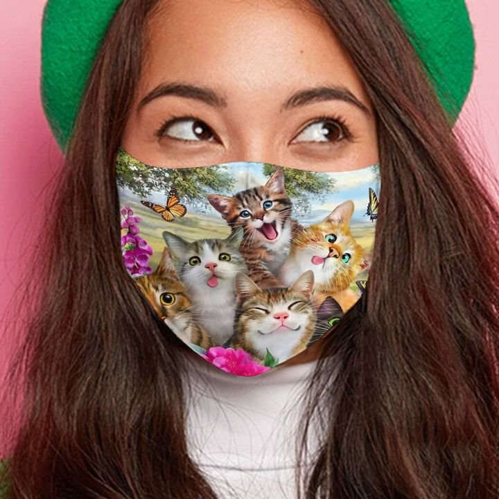 Floral cat and butterfly anti-dust cotton face mask 3